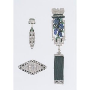 Platinum & other materials pin set by Lacloche Freres, from the V&A Collection, bequeathed to the museum by Miss J.H.G. Gollan